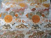 Flying Tapestries - Textiles - Japanese brocade tapestry banner featuring a floral design and a flying crane.  by Japanese artistry