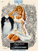 Japanese Chin Prints - Japanese Chin Art - Una Parisienne Movie Poster Print by Sandra Sij