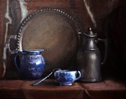 Original Paintings - Japanese china and Pewter by Viktoria K Majestic