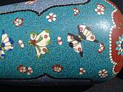 Butterfly Ceramics - Japanese cloisonne on earthenware Totai vase  by Japanese Totai master