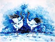 Japanese Cranes Print by Zaira Dzhaubaeva