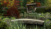 Garden Scene Digital Art Posters - Japanese Garden and Koi Pond Autumn Poster by Fairy Fantasies