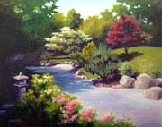 Janet King Painting Posters - Japanese Garden At Cheekwood Poster by Janet King