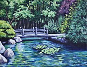 Bridge Paintings - Japanese Garden Bridge San Francisco by Penny Birch-Williams
