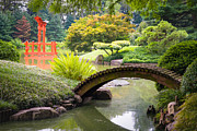 Gary Heller Metal Prints - Japanese Garden - Footbridge over the Pond - Gary Heller Metal Print by Gary Heller