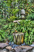 Garden Scene Metal Prints - Japanese Garden Fountain Metal Print by Heidi Smith