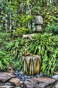 Japanese Garden Fountain Print by Heidi Smith