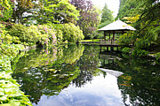 Wooden Structures Prints - Japanese Garden Pond Print by Marilyn Wilson
