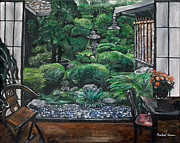 Bamboo Lanterns Framed Prints - Japanese Garden Framed Print by Rachael Evans