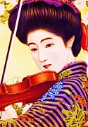 Advertisment Paintings - Japanese Girl Playing Violin by Reproduction