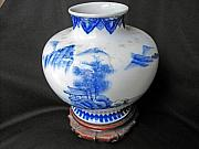 Landscape Ceramics Originals - Japanese Hirado ware porcelain vase by Japanese Hirado master