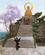 Buddhism Metal Prints - Japanese Imploring a Divinity Metal Print by Jean Leon Gerome