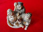 Carving Sculptures - Japanese ivory netsuke featuring 3 men group sitted on a large round plate by Not identified signed artist