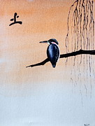 Mirror Paintings - Japanese Kawasemi Kingfisher Feng Shui Earth by Gordon Lavender