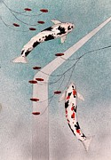 Sakana Posters - Japanese Koi and silver waterfall painting Poster by Gordon Lavender