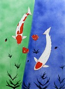 Mono Mixed Media Prints - Japanese Koi Kohaku and Tancho  Print by Gordon Lavender