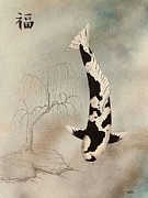 Mono Mixed Media Prints - Japanese koi utsuri mono willow painting  Print by Gordon Lavender