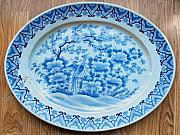 Cherry Blossoms Ceramics Originals - Japanese large porcelain platter of oval shape by Anonymous ceramic artist