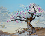 Anthropomorphic Paintings - Japanese Magnolia In Spring by Eric Bachman
