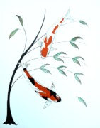 Mirror Paintings - Japanese painting of a Koi Kohaku and Showa Sanke by Gordon Lavender