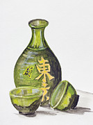 Sake Bottle Painting Posters - Japanese rice wine - Sake Poster by Irina Gromovaja