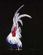 Mary Pastels Posters - Japanese Rooster Poster by Mary Dove