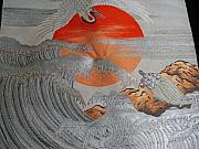 Heaven Tapestries - Textiles - Japanese silk Fukusa tapestry featuring a crane flying over a stormy sea. by Japanese artist