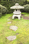 Stepping Prints - Japanese Stone Lantern Hamilton Gardens New Zealand Print by Colin and Linda McKie
