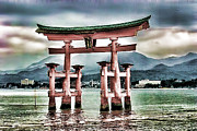 Floating Torii Photos - Japanese Torii by Lawrence Burry