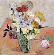 Nature Morte Posters - Japanese Vase with Roses and Anemones Poster by Vincent van Gogh