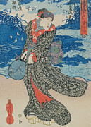 Japanese Woman By The Sea Print by Utagawa Kunisada