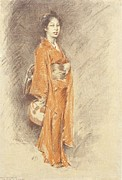 Stone Lithography Framed Prints - Japanese Woman in Kimono Framed Print by Pg Reproductions