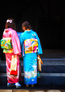 Kimonos Photos - Japanese women wearing beautiful kimono by David Hill