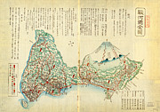 Vintage Map Paintings - Japanese Wood Block Map showing Mt Fuji 1830s by MotionAge Art and Design - Ahmet Asar