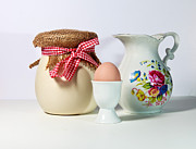 Egg-cup Photos - Jar and Egg by Cecil Fuselier