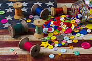 Sew Posters - Jar of buttons and spools of thread Poster by Garry Gay