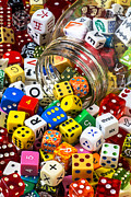 Piles Posters - Jar of colorful dice Poster by Garry Gay