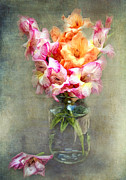 Mason Jar Prints - Jar of Gladiolas Print by Lena Auxier