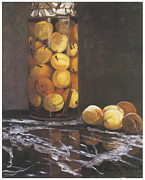 Peaches Painting Prints - Jar of Peaches Print by Claude Monet