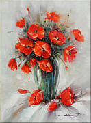 Romania Paintings - Jar with Poppies by Petrica Sincu
