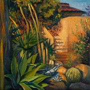 Tile Paintings - Jardin de Cactus by Athena Mantle