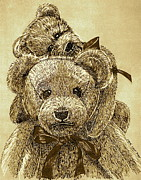 Stuffy Prints - Jareds Bears Sepia Print by Linda Simon