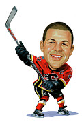 Calgary Flames Framed Prints - Jarome Iginla Framed Print by Art