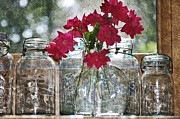 Ball Jars Prints - Jars and Roses Print by Stephanie Calhoun
