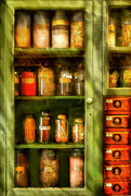 Old Door Digital Art Prints - Jars - Ingredients II Print by Mike Savad