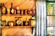Curtains Framed Prints - Jars - Kitchen Shelves Framed Print by Mike Savad