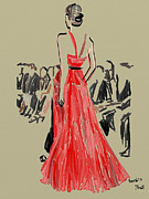 Editorial Painting Framed Prints - Jason Wu Runway Fall 2013 Framed Print by Jennifer Purcell