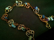 Brass Jewelry - Jasper and Coral blues by Maria Mccullough