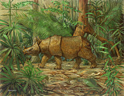 Rhinoceros Originals - Javan Rhinoceros - Destined for Extinction by ACE Coinage painting by Michael Rothman