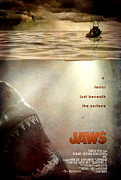Shark Digital Art Framed Prints - JAWS Custom Poster Framed Print by Jeff Bell
